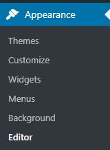screenshot from WordPress Dashboard showing Editor
