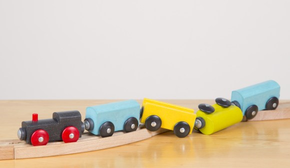 derailed toy train