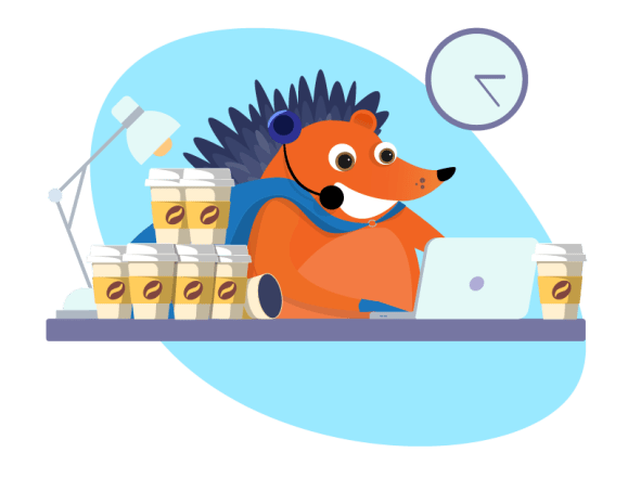 Hedgehog doing customer support with lots of coffee