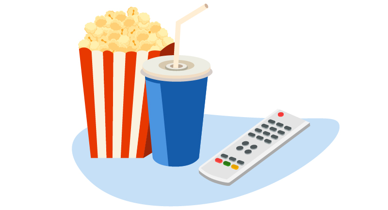 popcorn, soda and remote