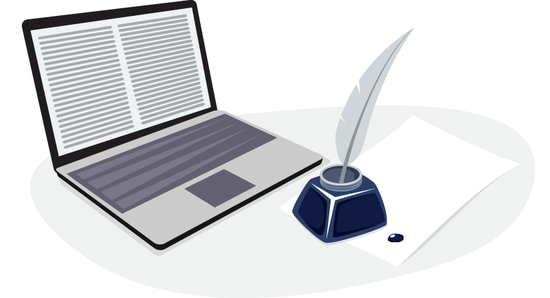 quill and ink and laptop