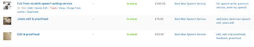 screenshot of Woocommerce product options