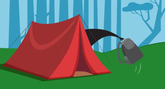 Beaver hiding in tent
