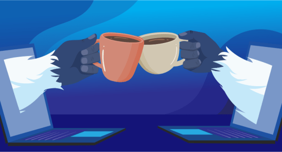 Yetis cheering each other with hot coffee