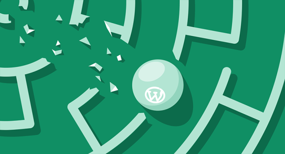 WordPress ball breaking through the walls of a complex maze
