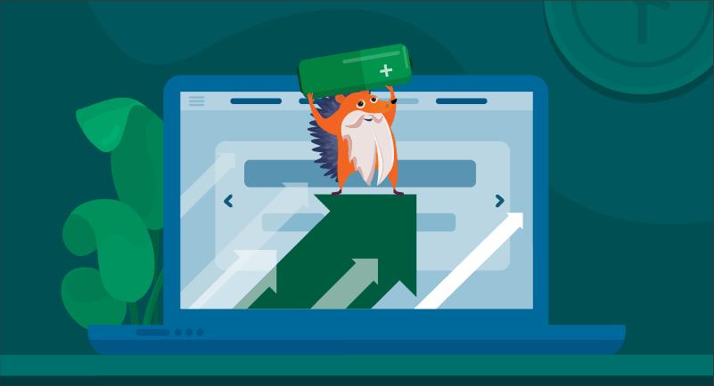 hedgehog powering up website with WordPress