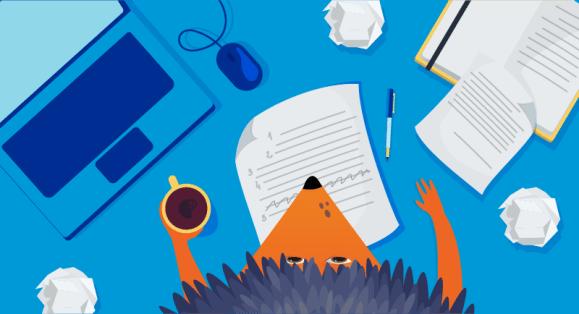 Hedgehog in front of piece of paper