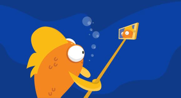 fish using selfie stick