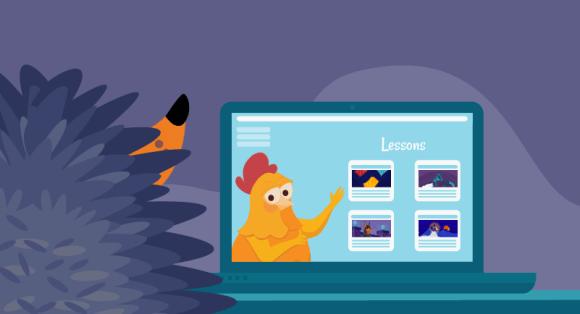 Hedgehog watching webinar on laptop