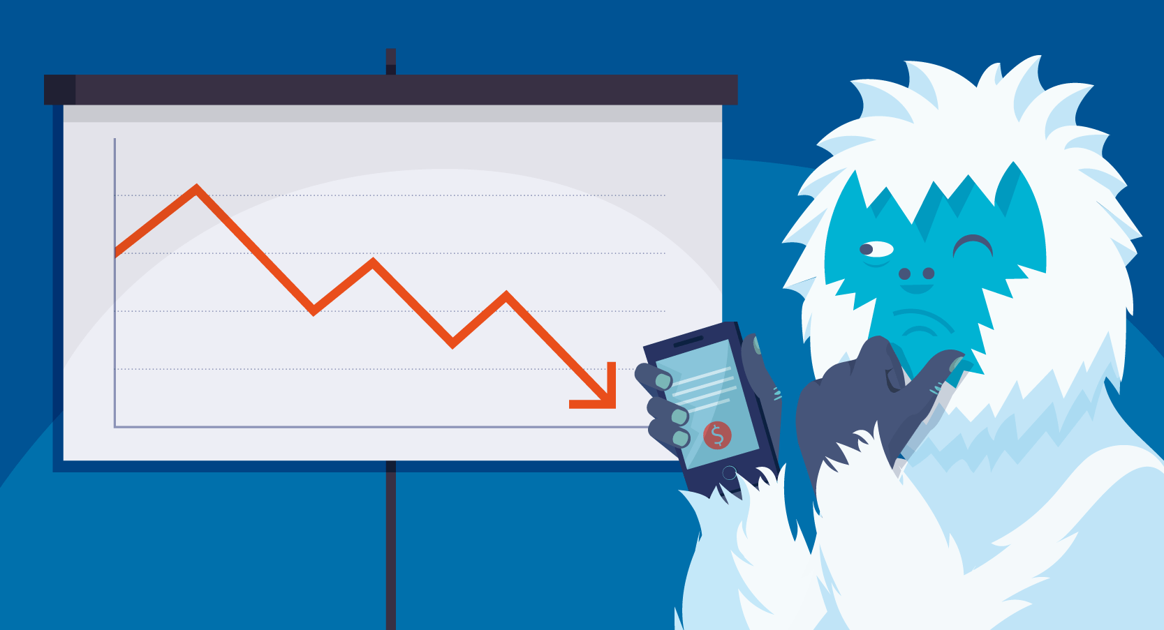Yeti in front of downwards graph
