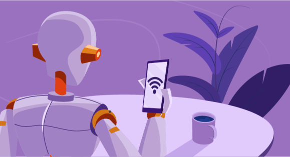 Robot on wi-fi on mobile device