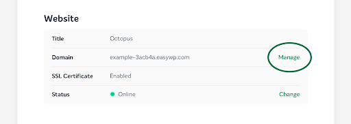 screenshot of EasyWP manage button