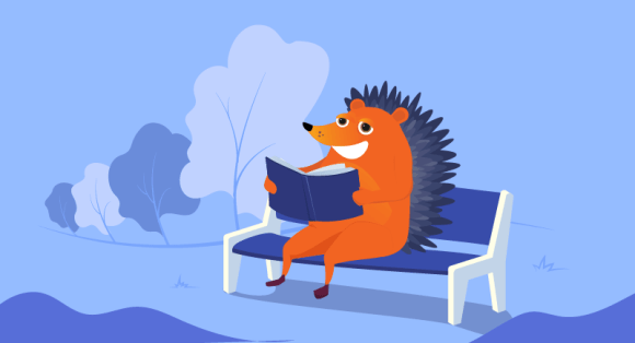 hedgehog reading a book