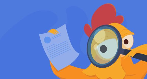 chicken examining a document
