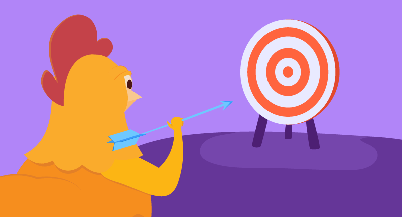chicken trying to hit a target with an arrow