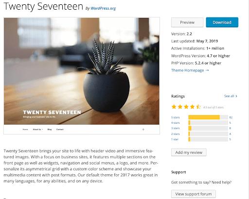 screenshot of Twenty Seventeen theme in WordPress repository