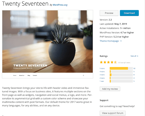screenshot of Twenty Seventeen theme in WordPress repository