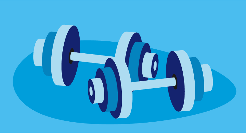 graphic of barbells
