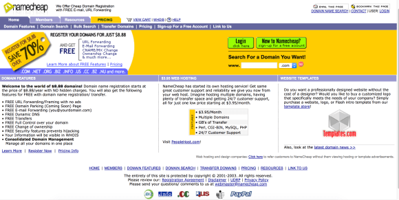 screenshot of Namecheap website in 2003