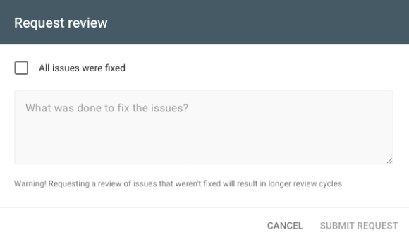 Form to submit a review request to Google
