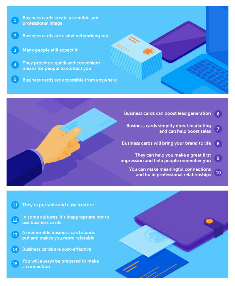 infographic on 15 reasons to use business cards