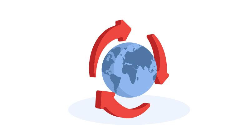 globe with environmental arrows