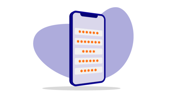 mobile device with asterisks for passwords