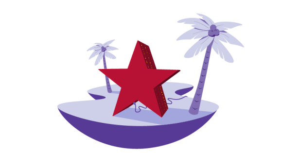 star on beach with palm trees