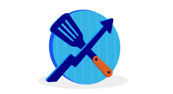 plate with spatula and arrow