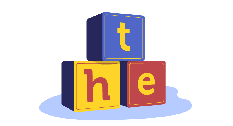 toy blocks T, H, and E
