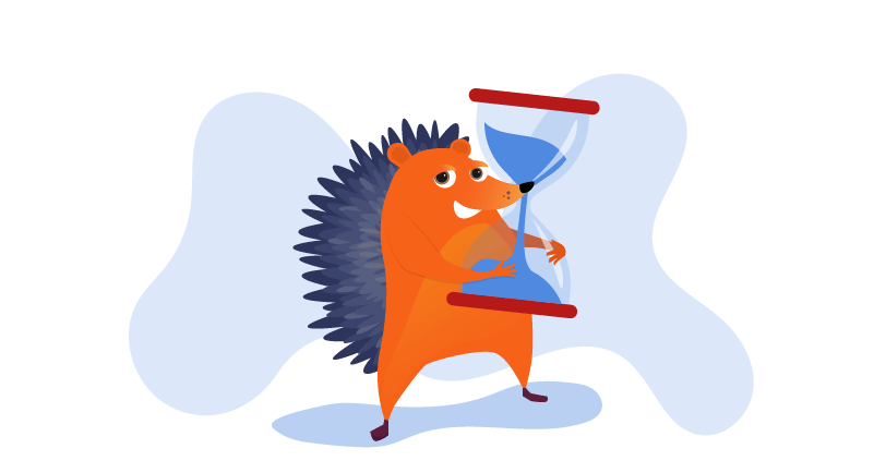 hedgehog with hourglass