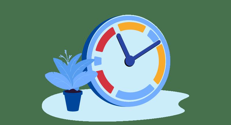 Plant beside a clock