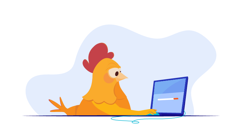 chicken waiting for site to load