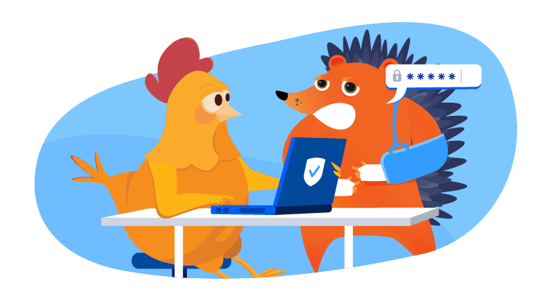 hedgehog with broken arm asking chicken to help with website