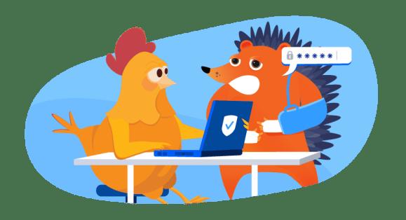 hedgehog with broken arm asking chicken to help with website
