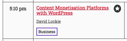 screenshot from WordCamp US program