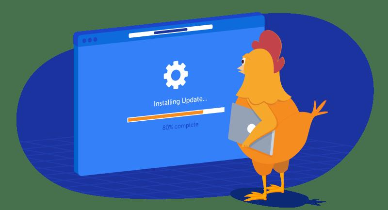 chicken updating her software