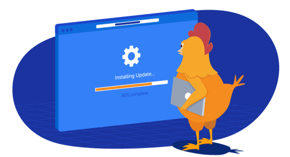 chicken updating her software