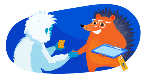 yeti and hedgehog negotiating a domain price