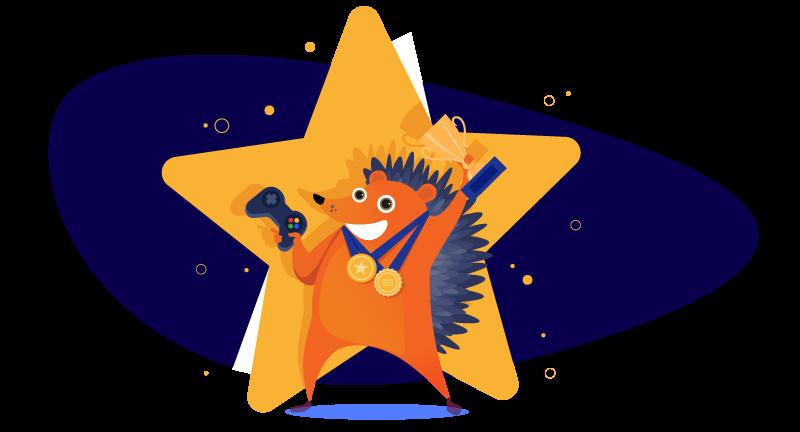 Hedgehog gamer with awards