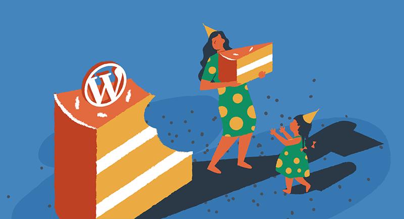 Woman serving WordPress birthday cake
