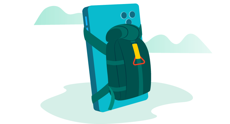 backpack on mobile phone
