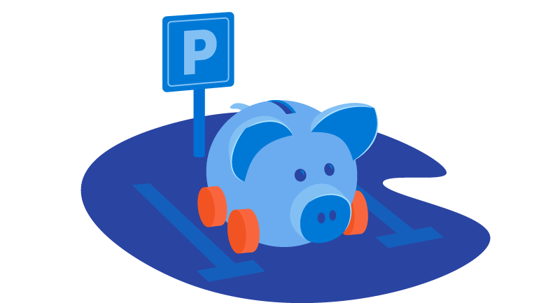 piggy bank in parking lot