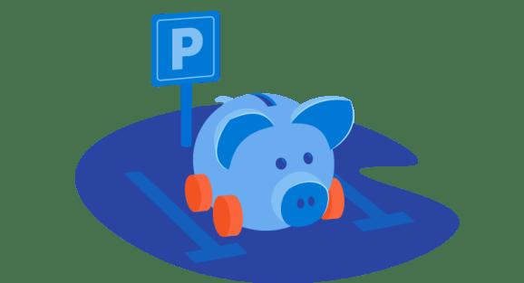 piggy bank in parking lot