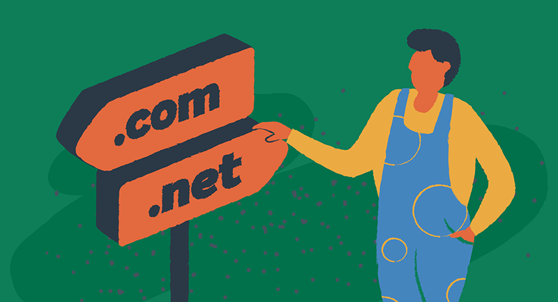 man by signpost with .com and .net