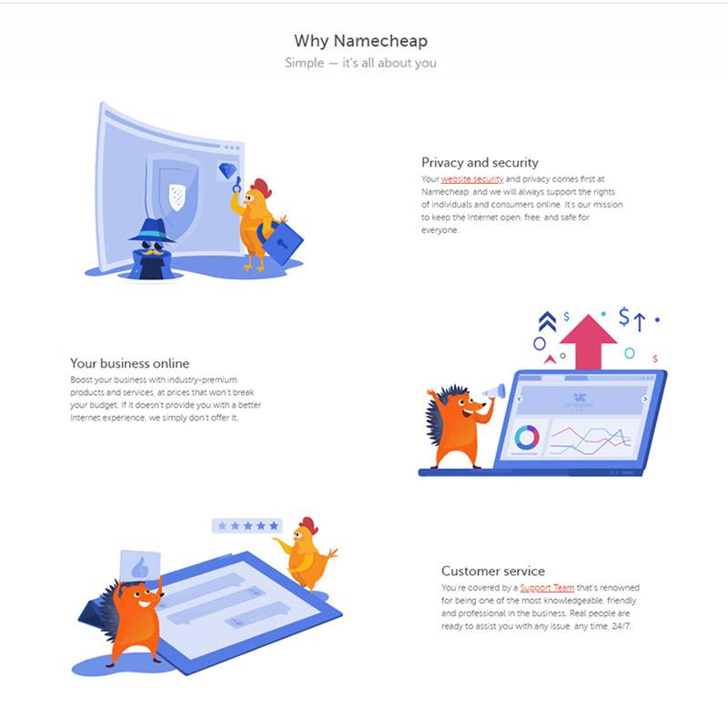 Namecheap homepage - why Namecheap?