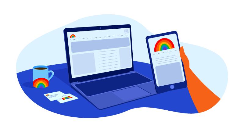website with a rainbow