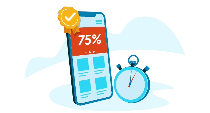 sale on mobile phone with stopwatch