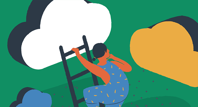 woman working in the cloud on a ladder