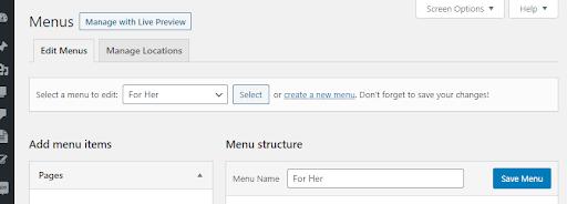 WordPress menu screenshot